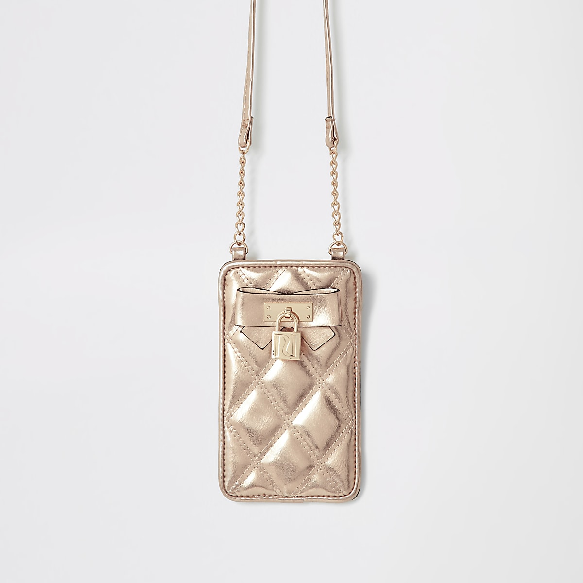 Girls gold quilted cross body pouch bag