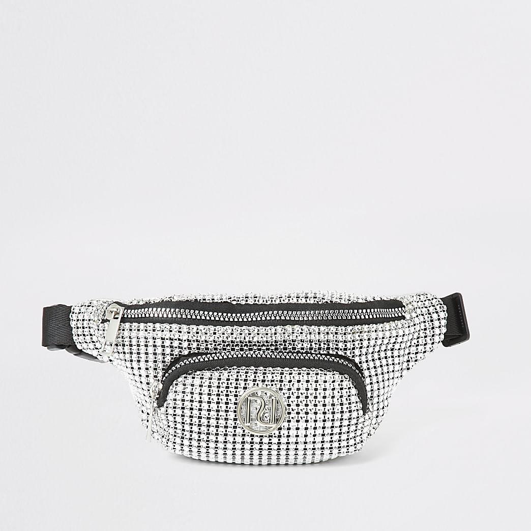 Girls silver embellished belted bum bag
