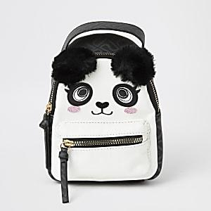 Mini sacà dos panda noir avec pompons en fausse fourrure