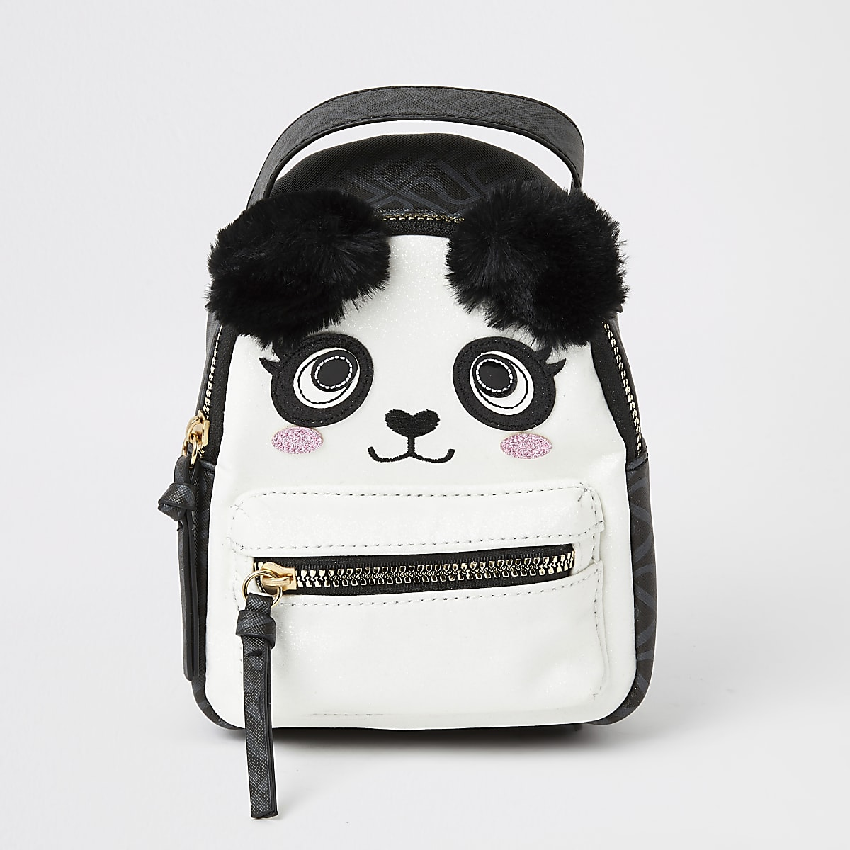 Black panda faux fur pom pom mini backpack