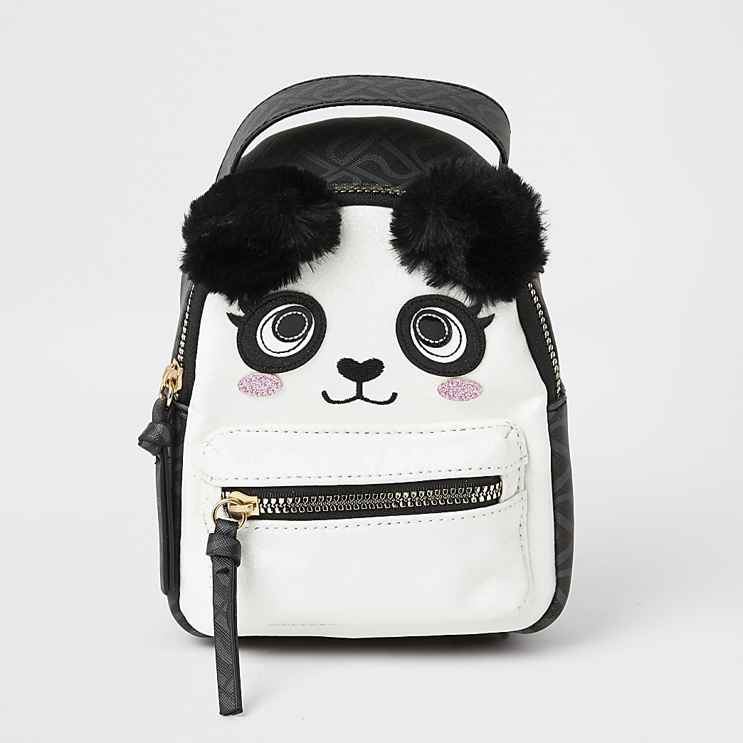 Girls black panda faux fur pom pom backpack