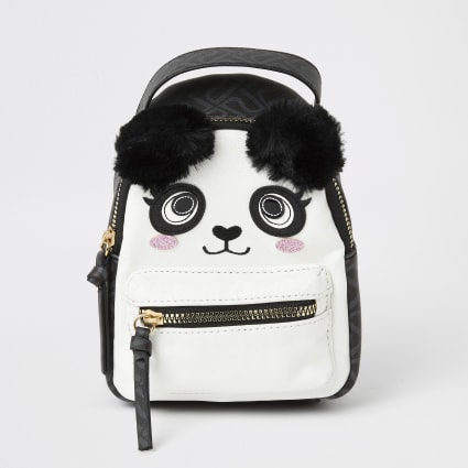 Black panda faux fur pom pom mini backpack