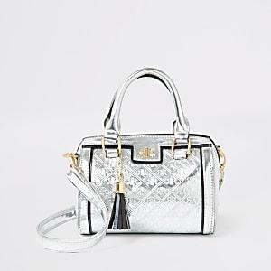 Zilverkleurige tas met RI-monogram voor meisjes