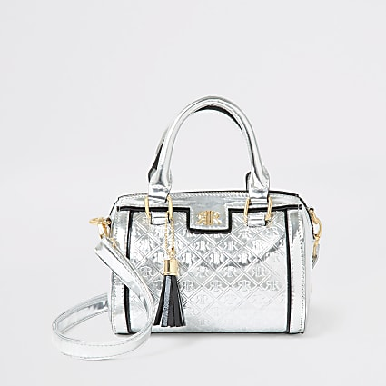 Girls silver RI monogram bowler bag