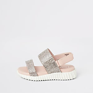 Mini - Roze stevige sandalen met siersteentjes voor meisjes