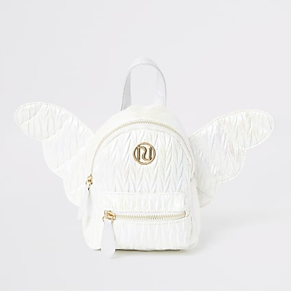 Girls white angel wing mini backpack