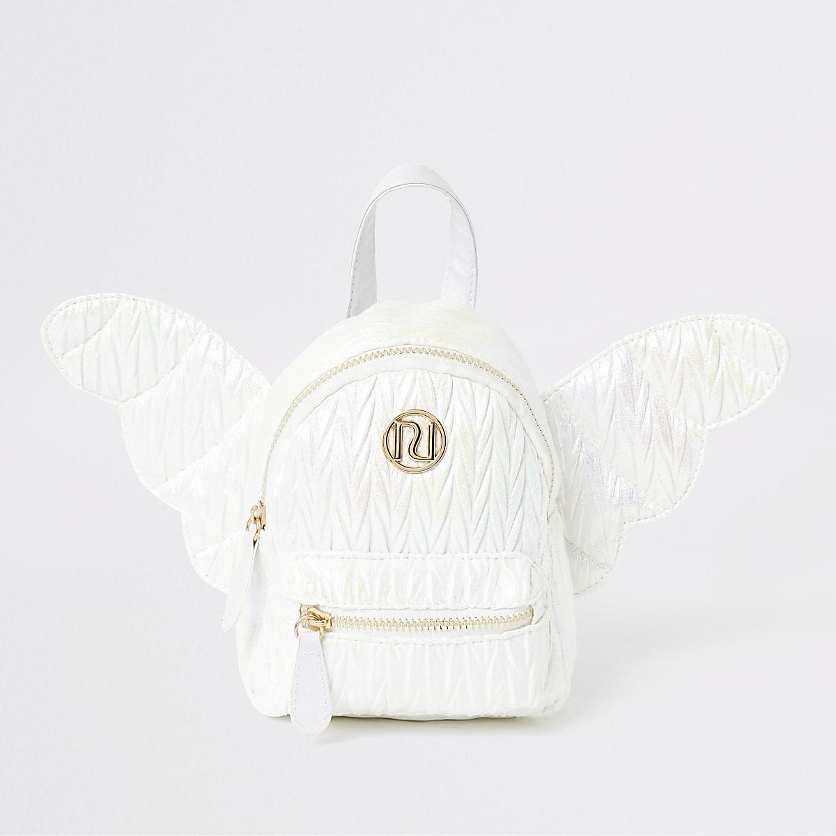Mini sac à dos blanc avec ailes d'ange pour fille