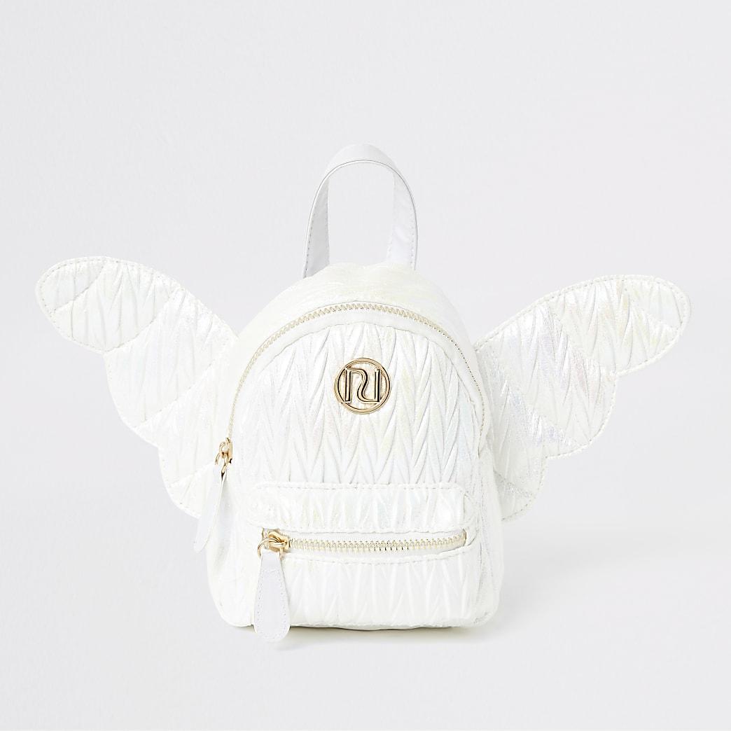 Witte mini-rugzak met engelvleugel voor meisjes