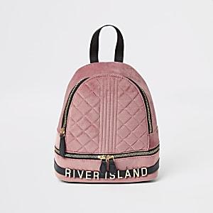 Roze gestikt velours rugzak voor meisjes