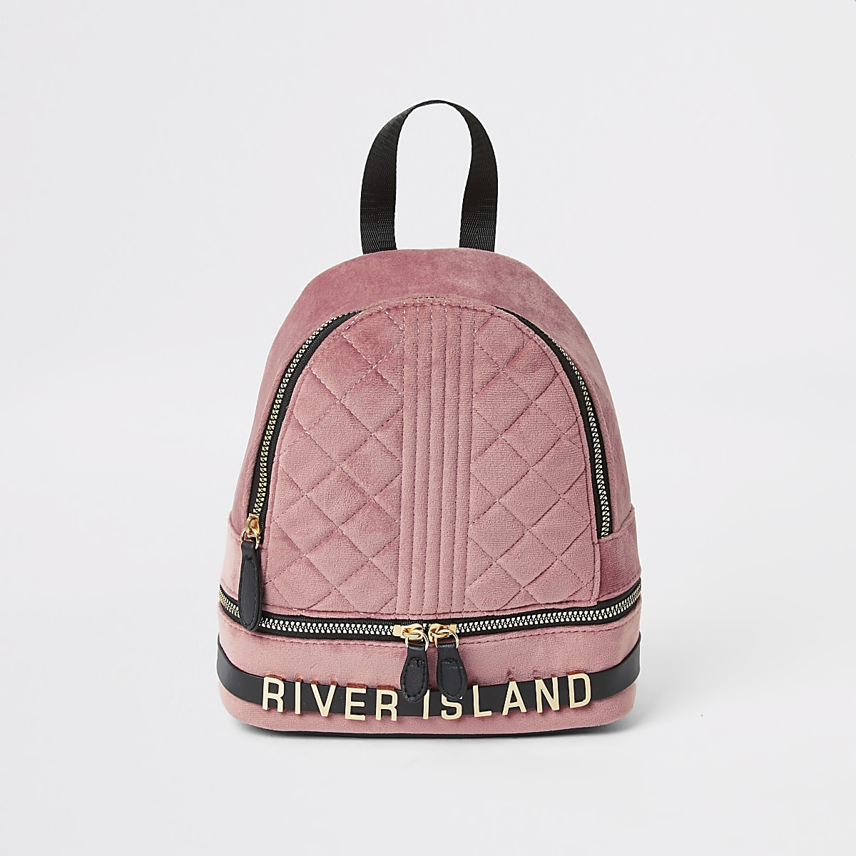 Girls pink quilted velvet backpack