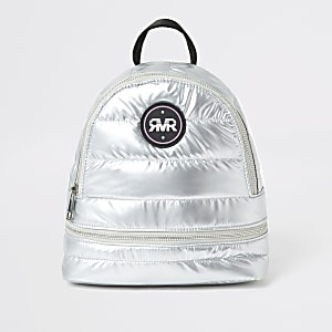 Gefütterter RI-Rucksack für Mädchen in Silber-Metallic