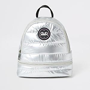 Zilverkleurige metallic gewatteerde rugzak met RVR-letters voor meisjes