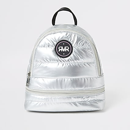 Girls silver metallic RI padded backpack