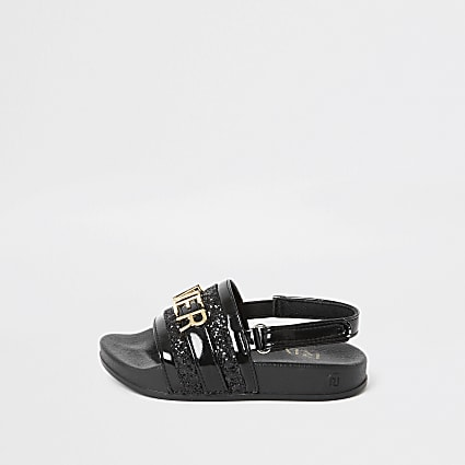 Mini girls black 'River Island' sliders