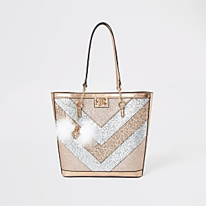 Shopper-Tasche mit Glitzerstreifen in Gold und Silber für Mädchen