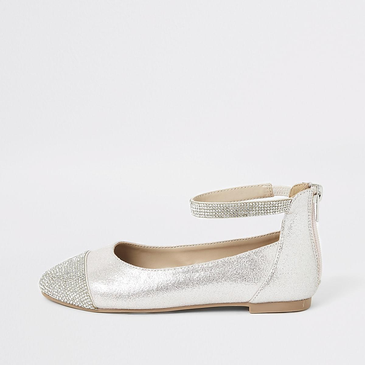 Girls pink diamante toe ballerina pumps