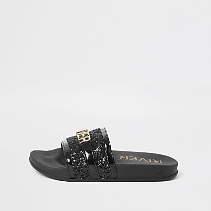 Girls black 'River' embellished sliders