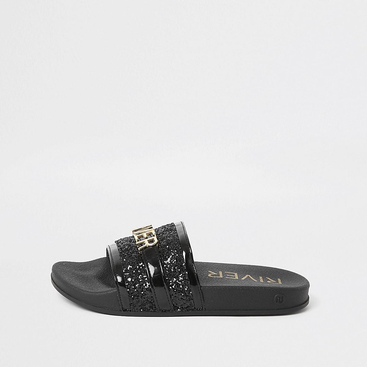 Zwarte versierde 'River Island' slippers voor meisjes