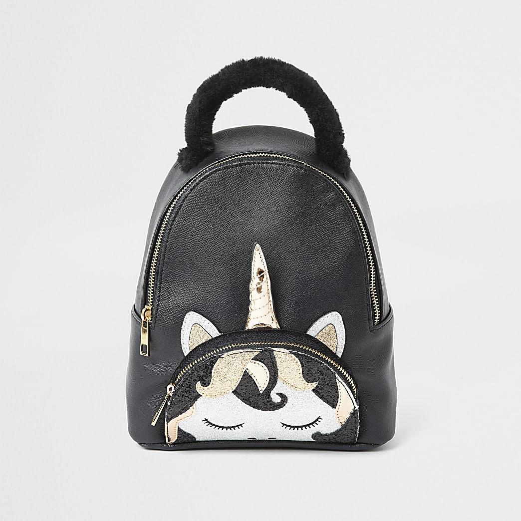 Girls black unicorn backpack