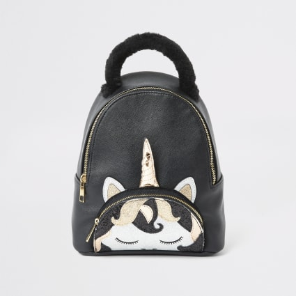 Girls black unicorn backpack