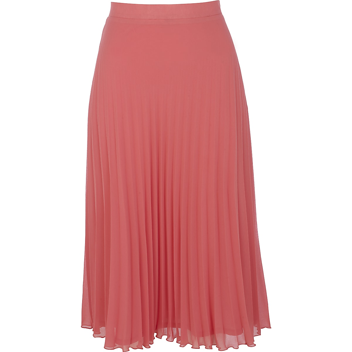 Bright coral pleated skirt