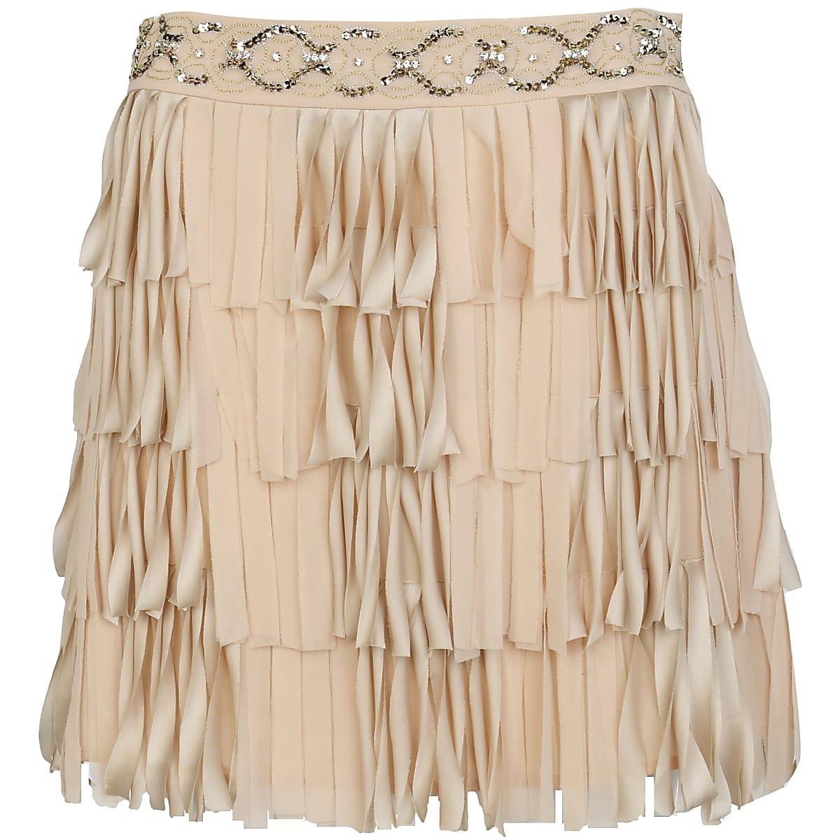 Light pink beaded flapper skirt