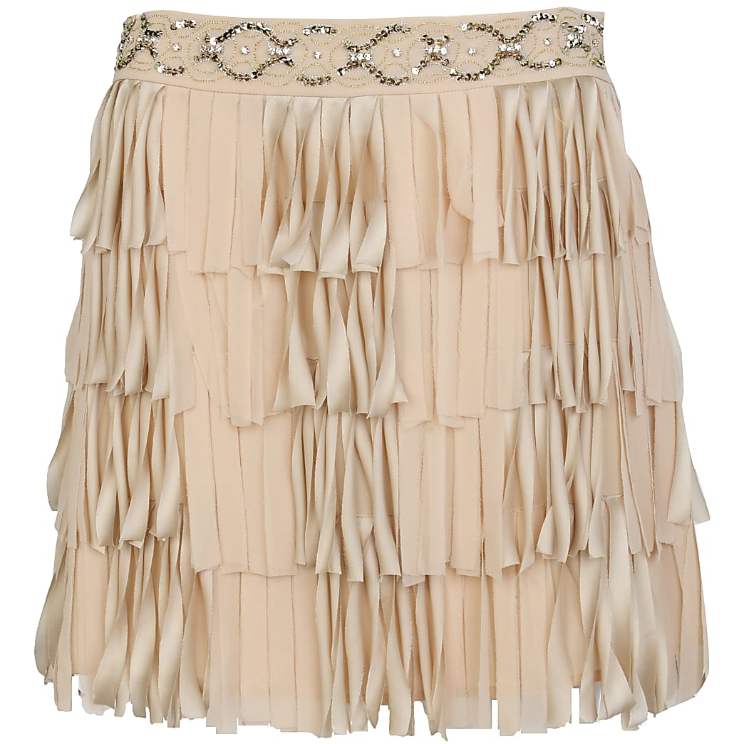 Light pink beaded flapper skirt