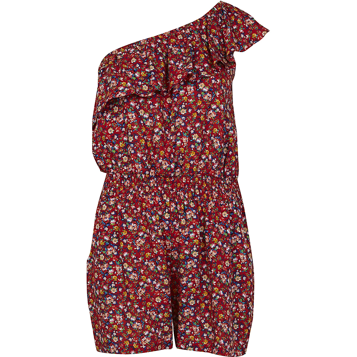Red ditsy print one shoulder playsuit