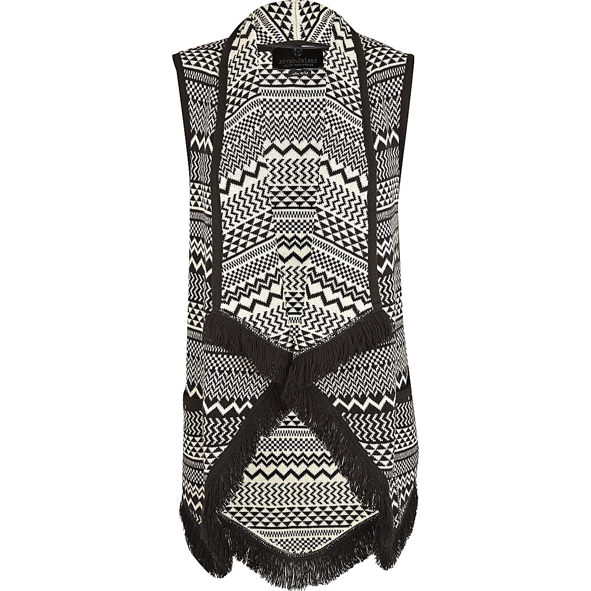 Black print sleeveless jacquard waistcoat