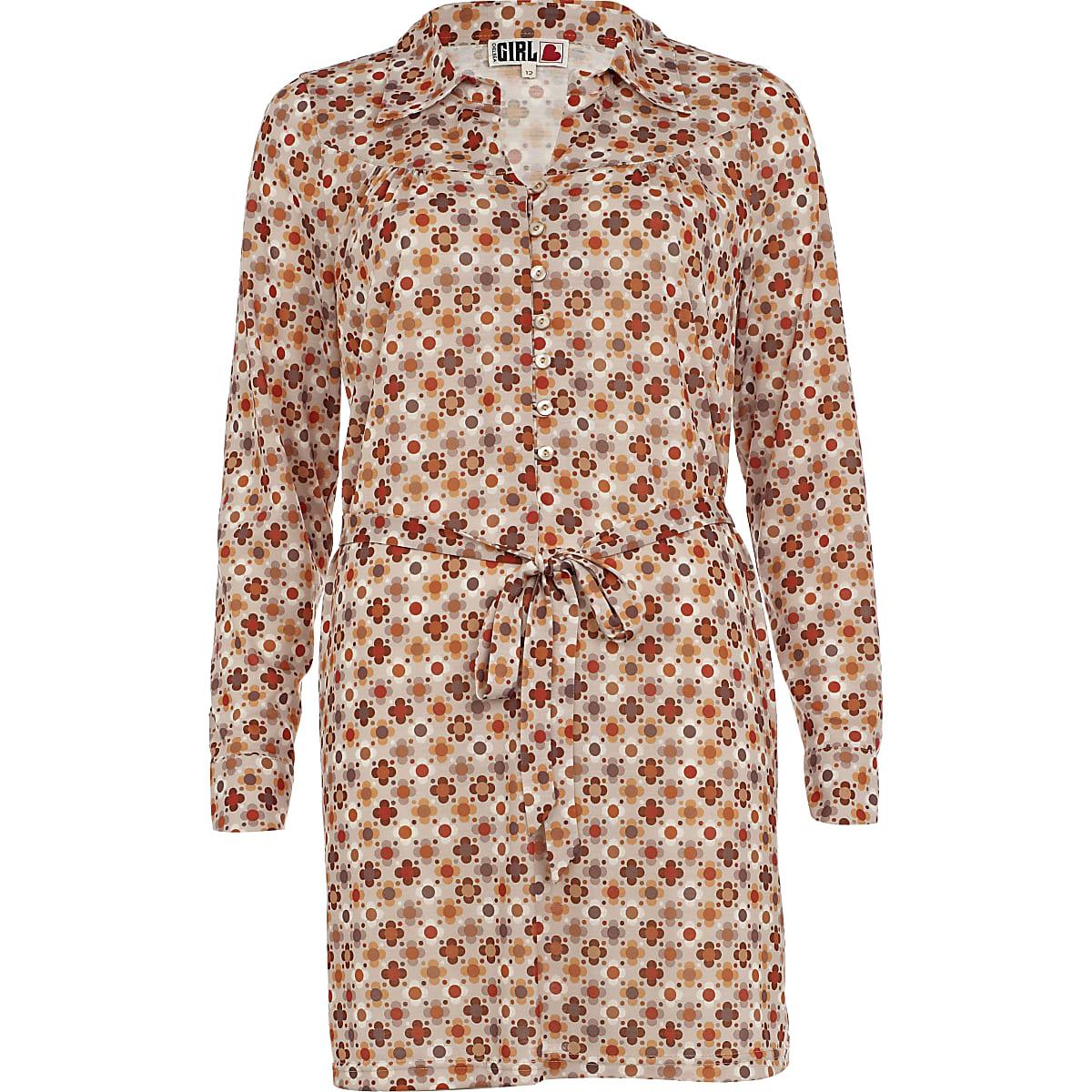 Beige print chelsea girl shirt dress