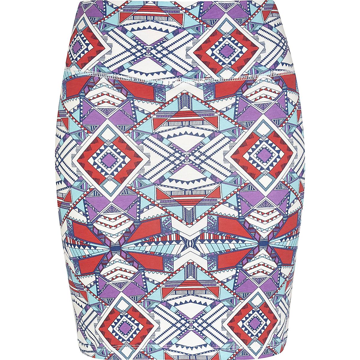 Red geometric aztec print mini skirt
