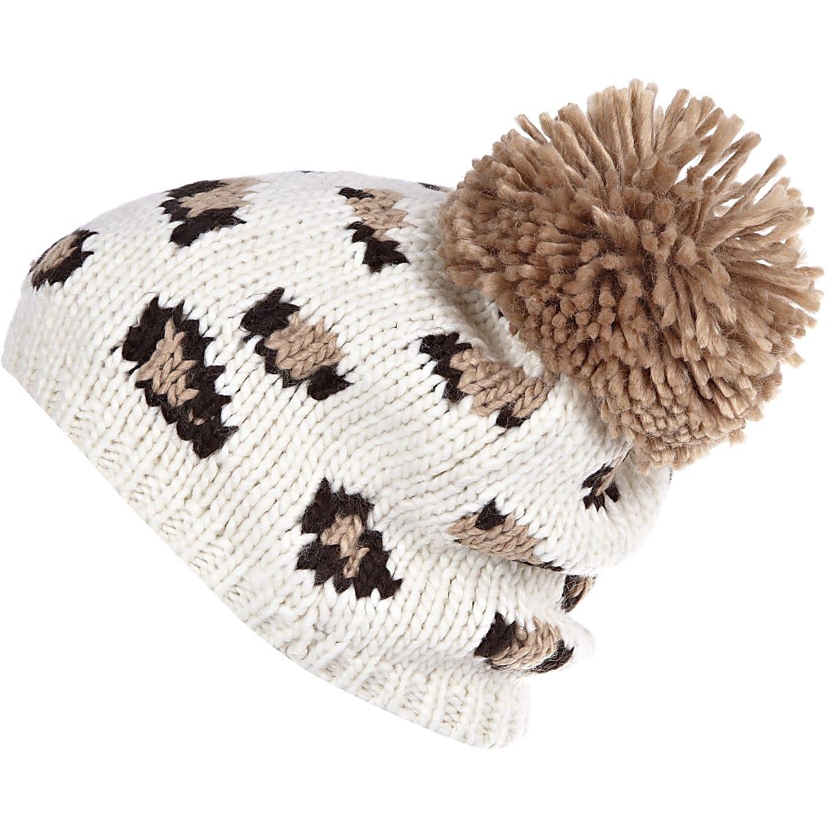 86029ddf Beige leopard print pom pom beanie hat