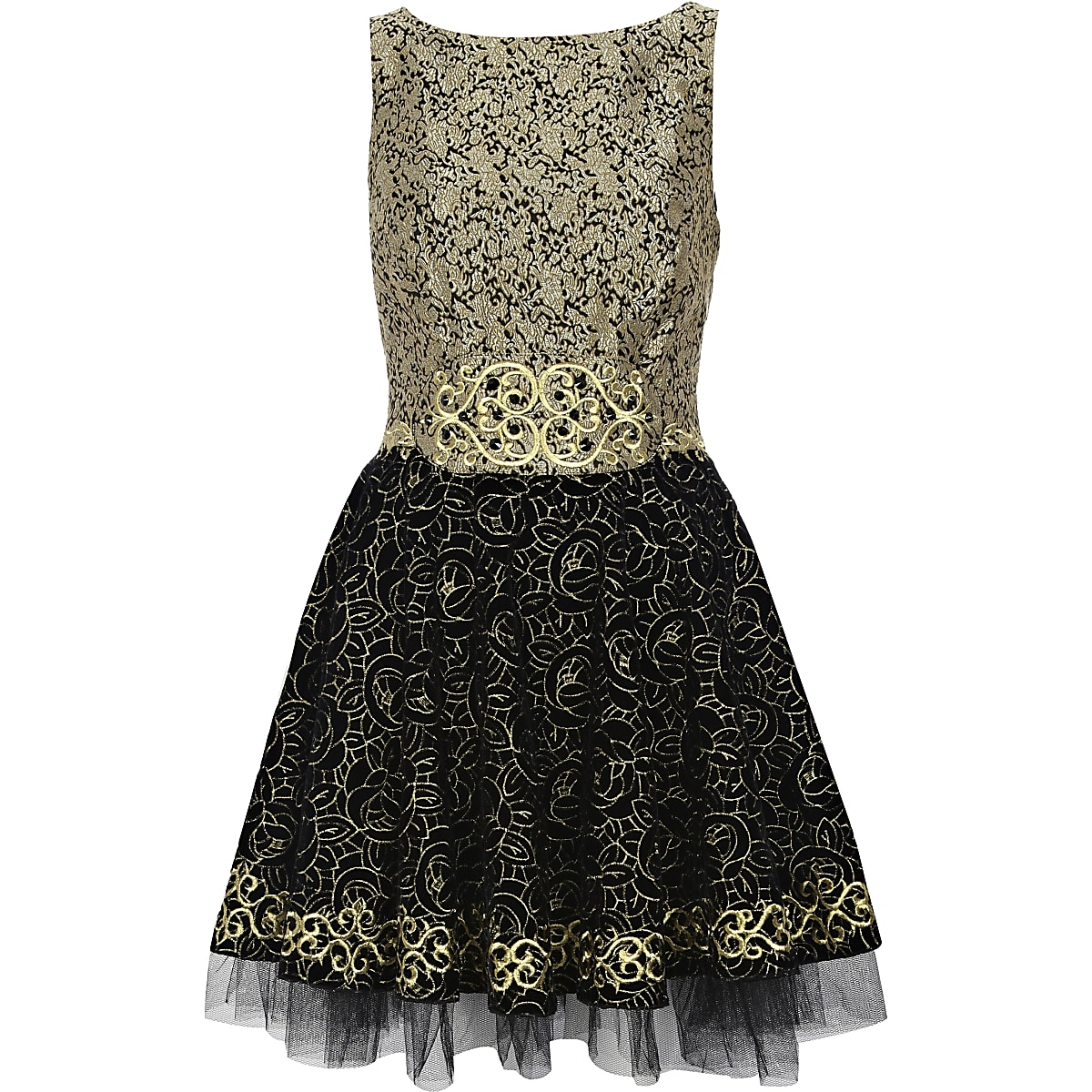Black metallic baroque prom dress