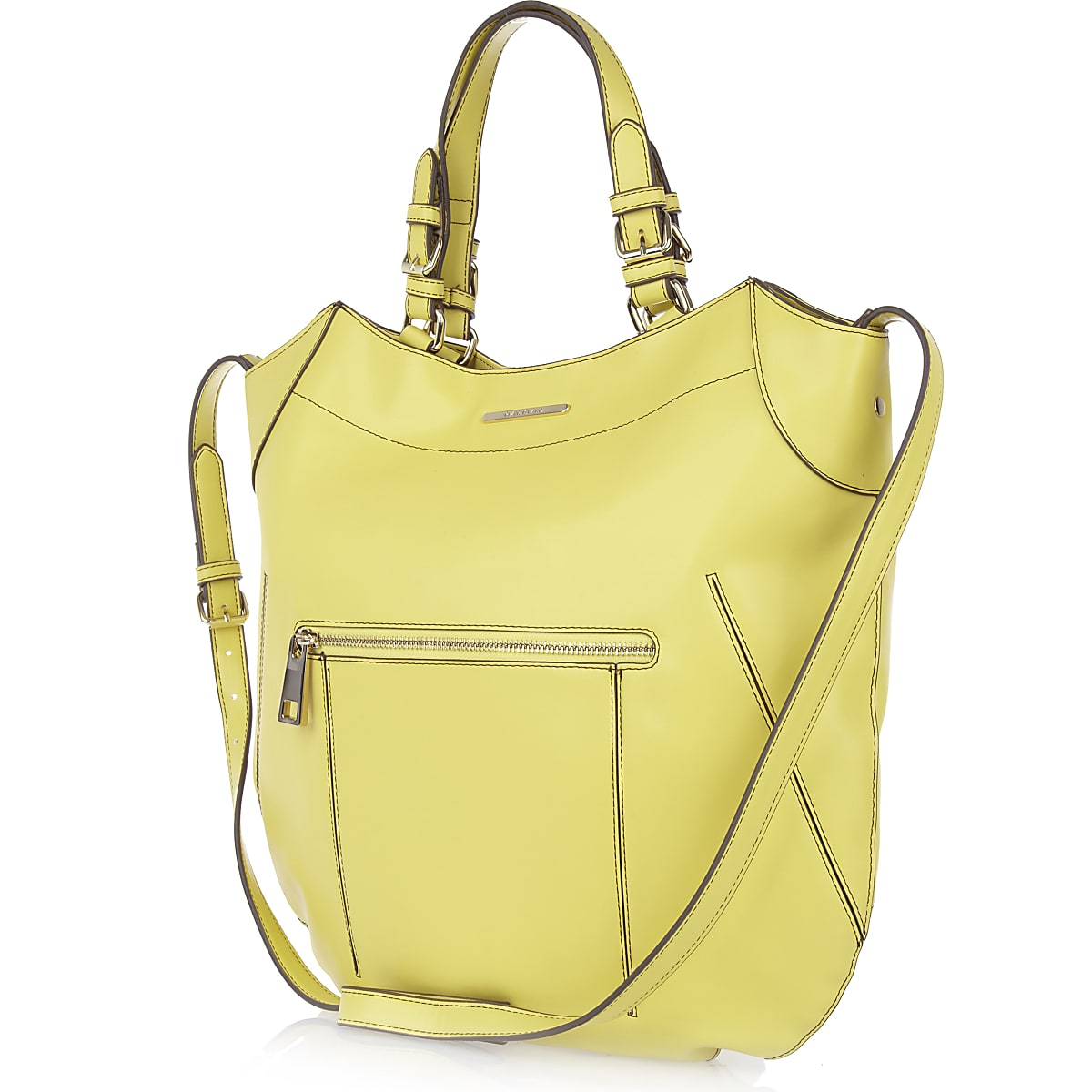 Lime structured curve tote bag