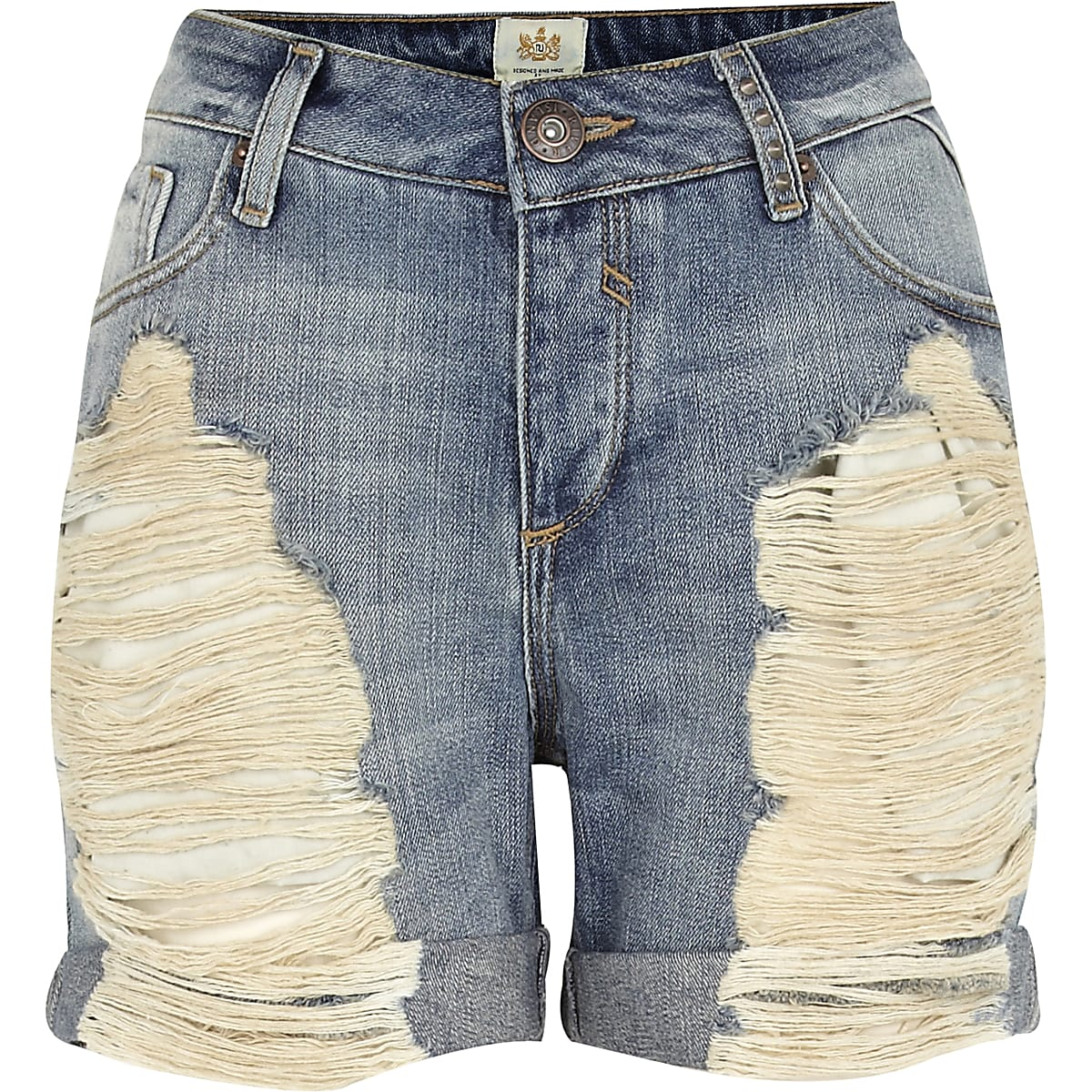Light wash ripped denim boyfriend shorts