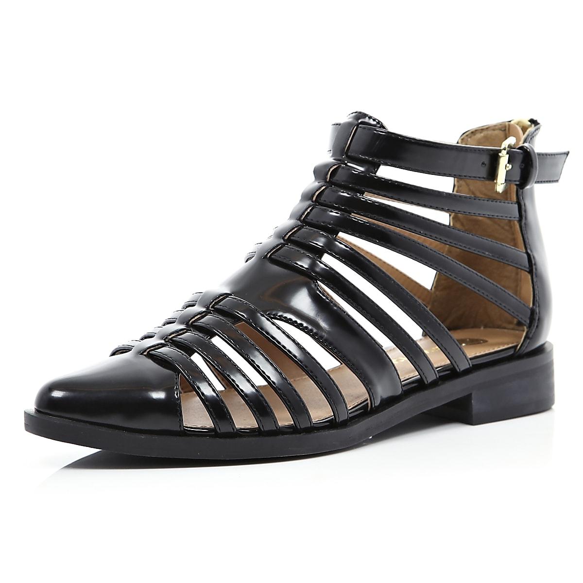 b7198cfae Black patent closed toe gladiator sandals - Sandals - Shoes   Boots - women