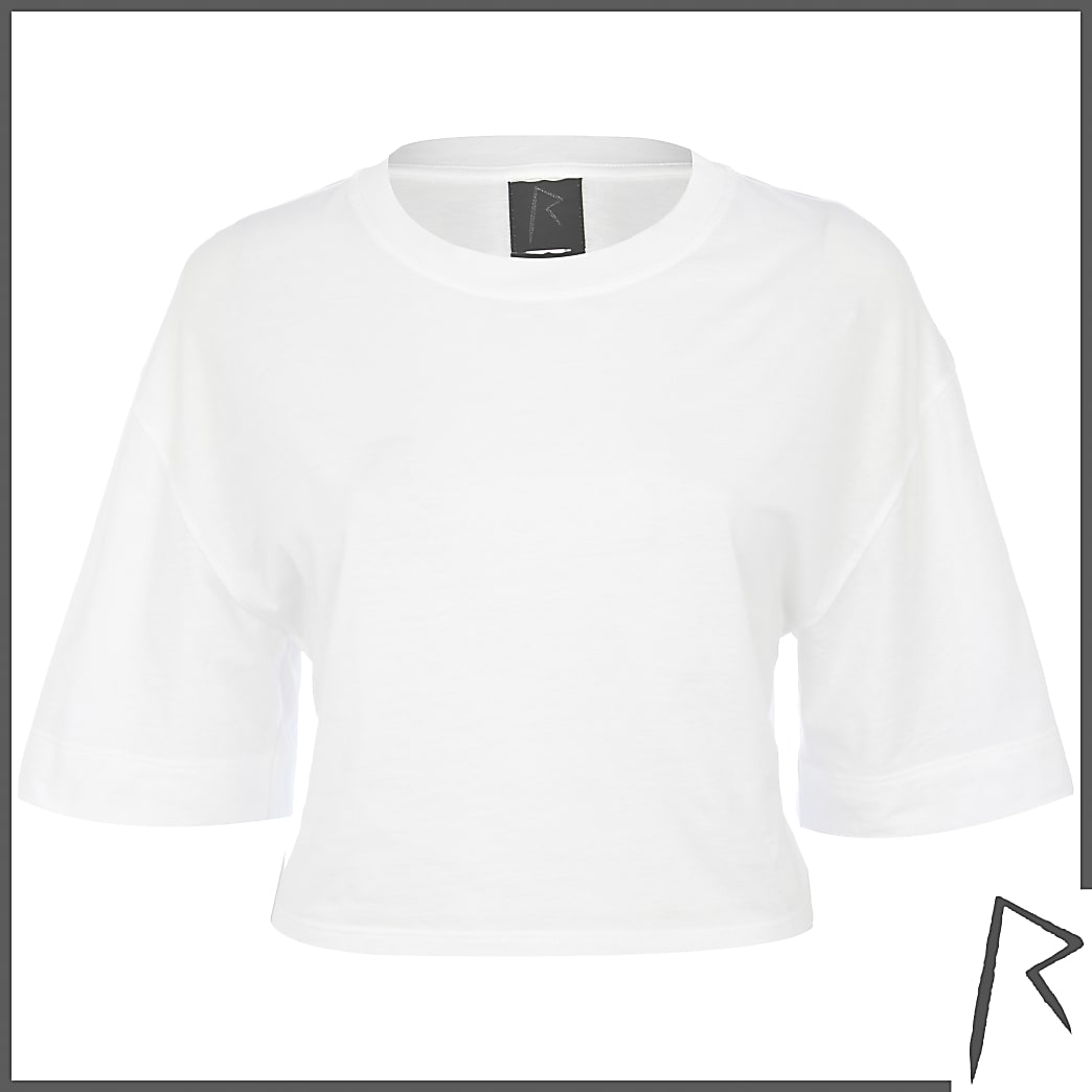 White Rihanna cropped t-shirt