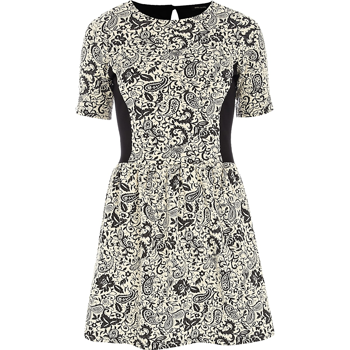 Cream jacquard contrast panel skater dress