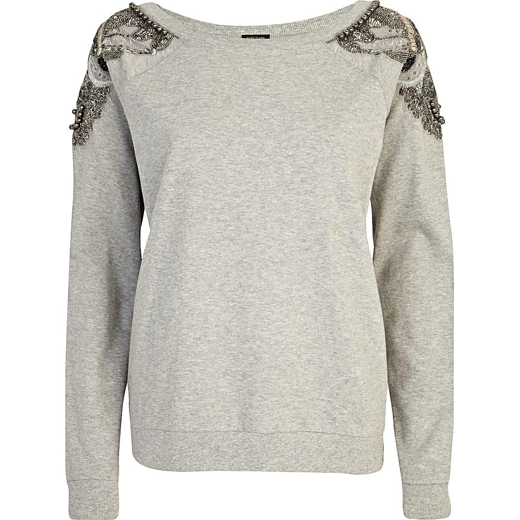Grey embellished shoulder sweatshirt