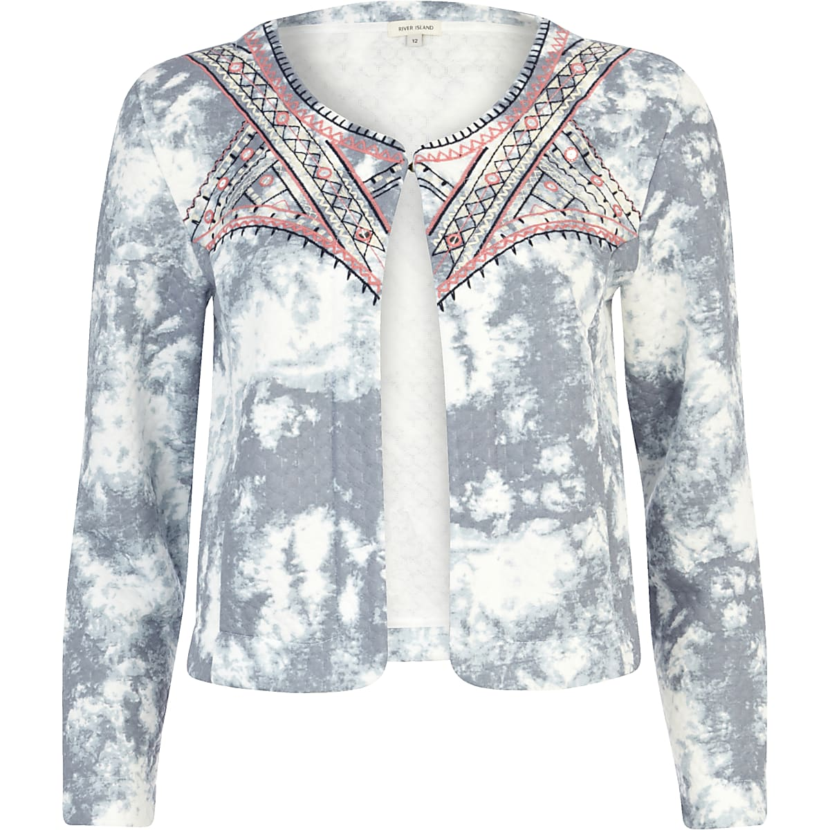 Blue cloud print embroidered quilted jacket