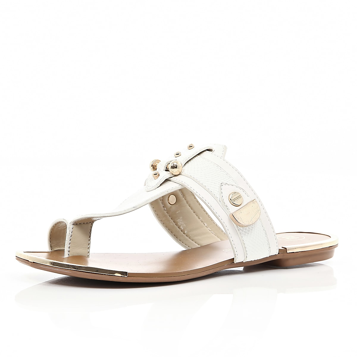 White metal trimmed toe loop sandals