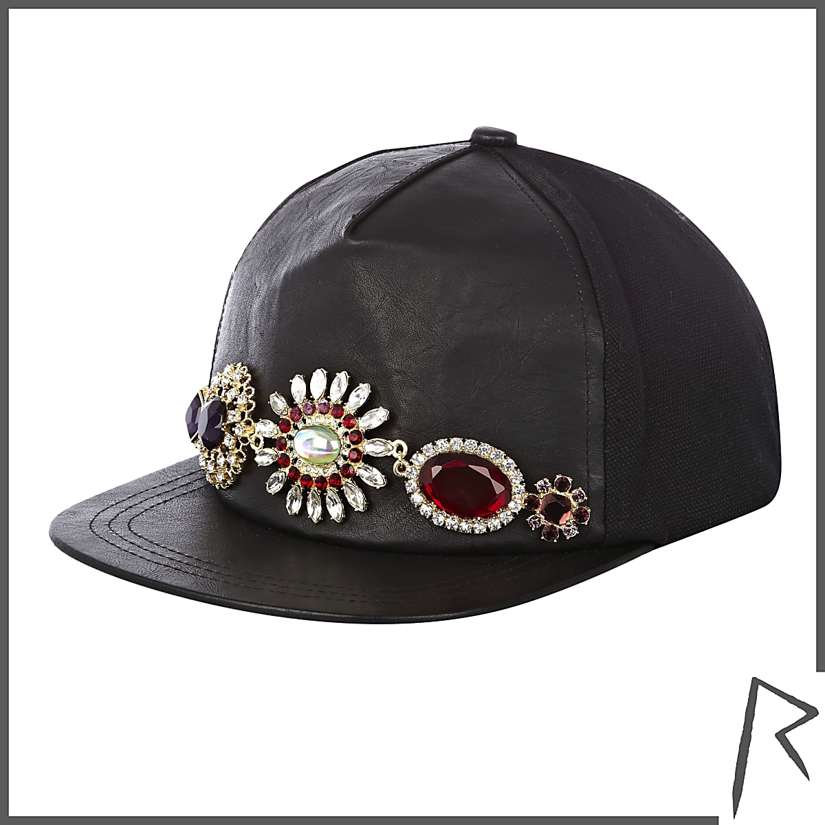 Black leather Rihanna gem stone trucker hat