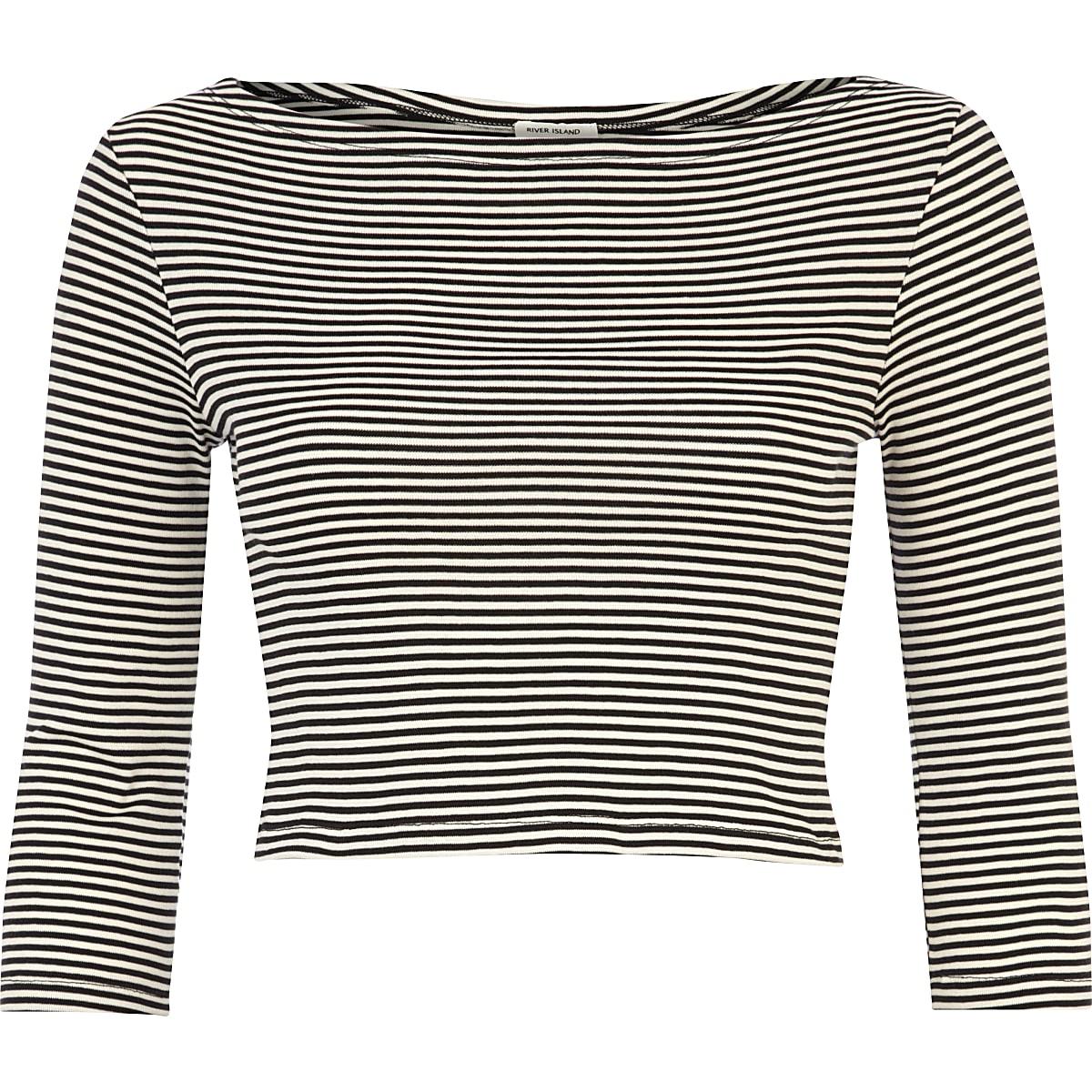 Black and white stripe crop top