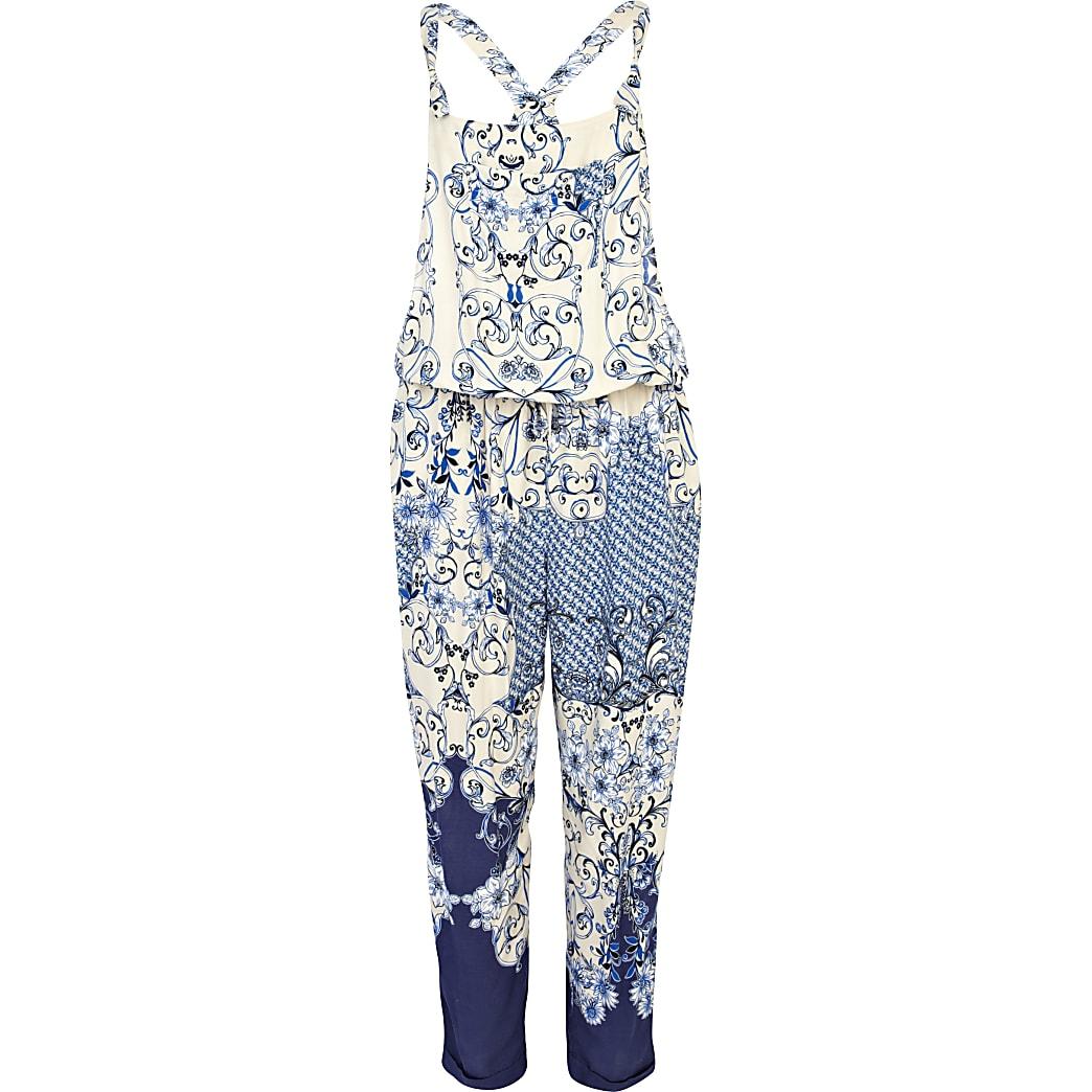 Blue oriental print dungaree jumpsuit