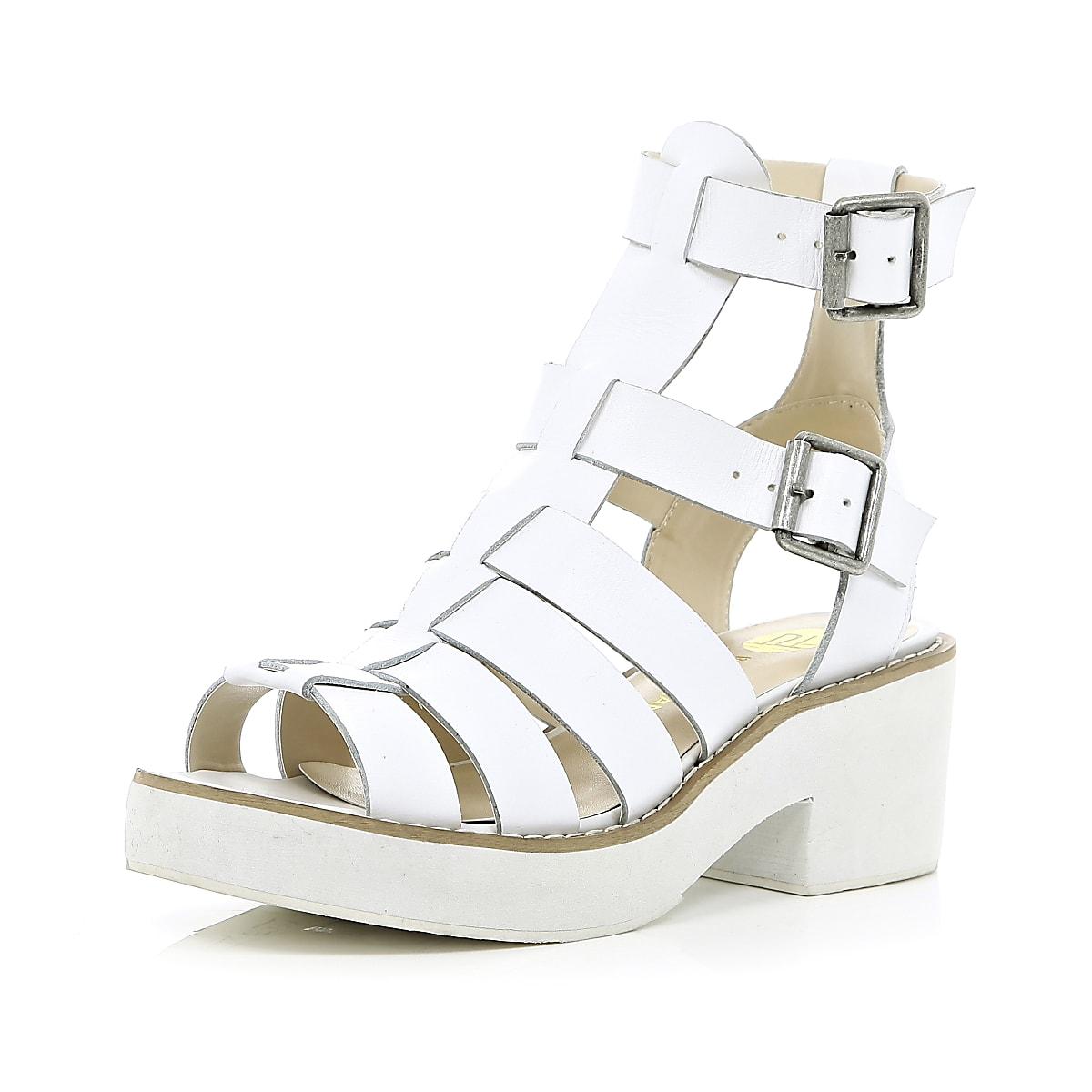 Block Block White White Gladiator Heel Heel Sandals sotdQCxrhB