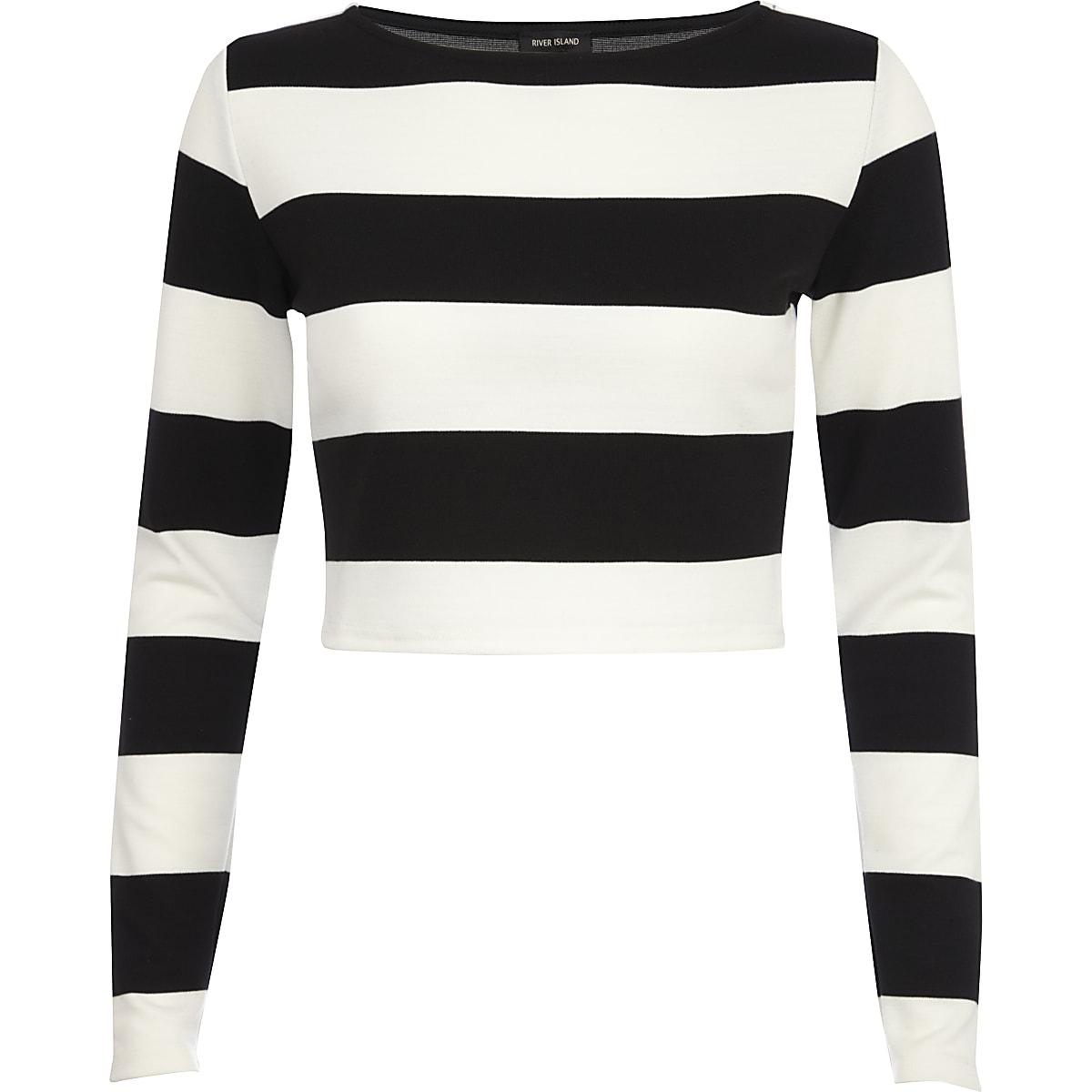 6f8ea199ac9b Black and white chunky stripe crop top - Crop Tops   Bralets - Tops ...