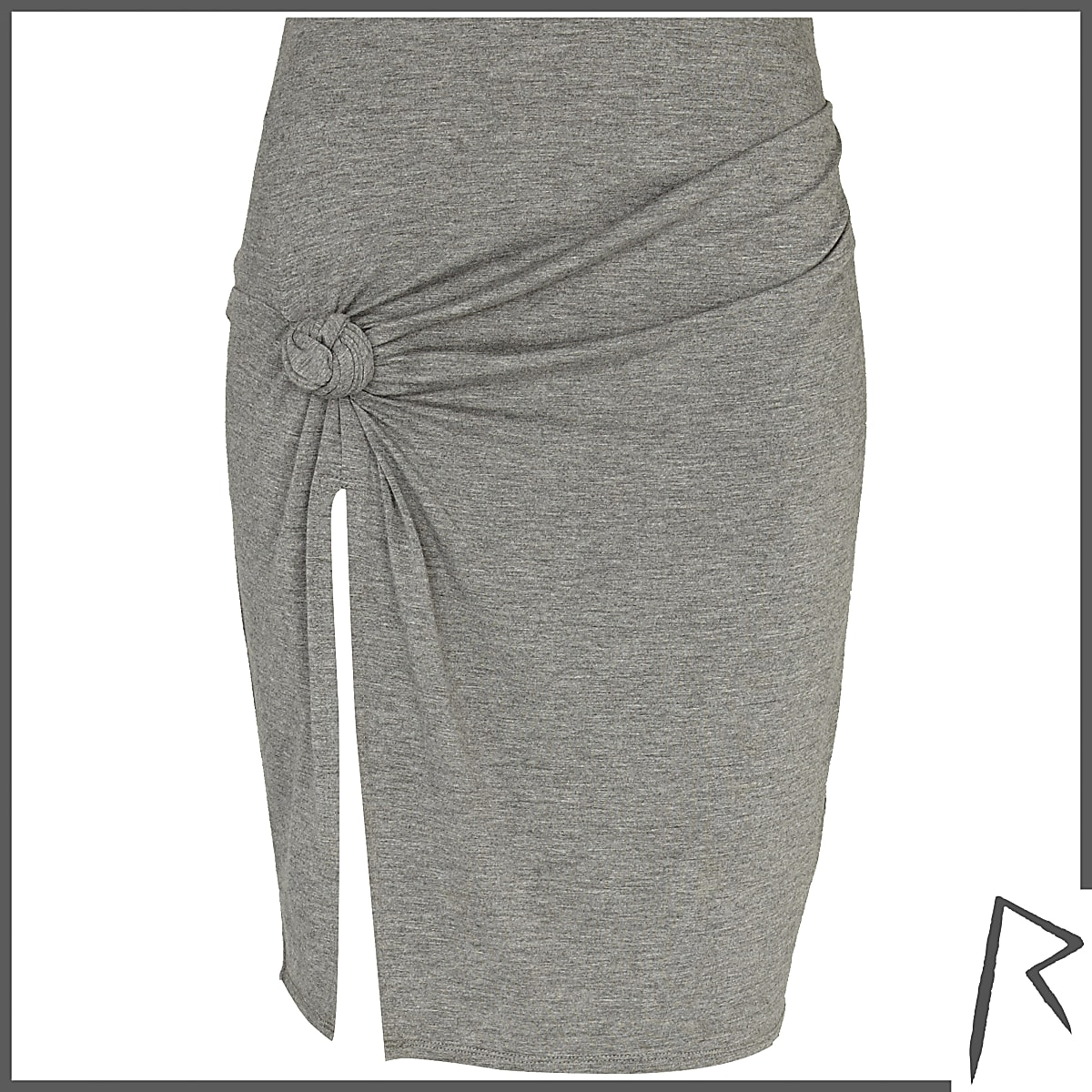 Grey Rihanna knot front thigh split skirt