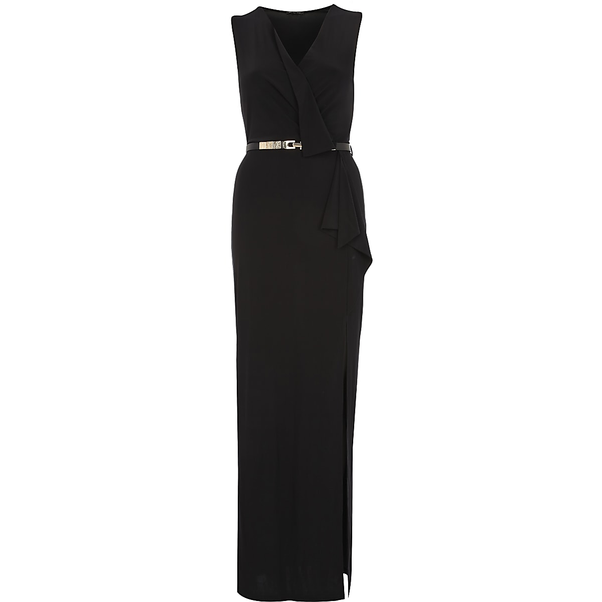 Black wrap front belted maxi dress