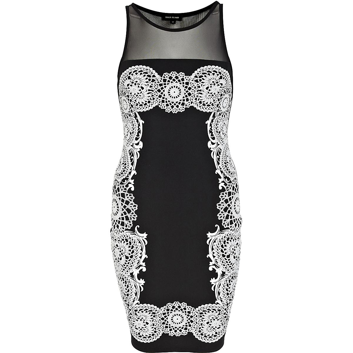 Black puff print mesh insert bodycon dress
