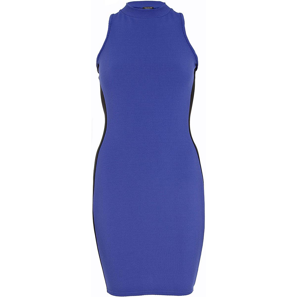 Blue textured turtle neck bodycon dress